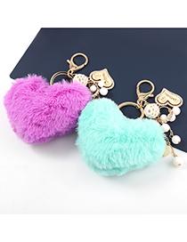 Fashion Brown Alloy Wood Diamond-encrusted Love Heart-shaped Hair Ball Keychain