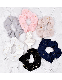 Fashion White Small Star Fabric Five-pointed Star Net Yarn Hair Ring