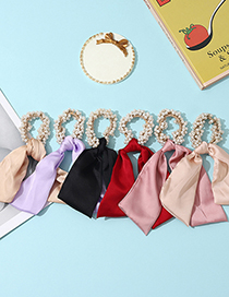Fashion Red Silk Pearl Streamer Pure Color Hair Tie