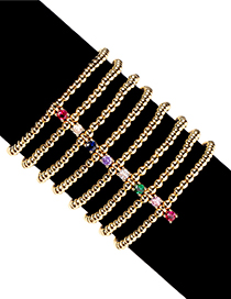 Fashion White 1 Gold-plated Copper Bead Beaded Braided Bracelet