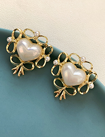 Fashion Gold Color Alloy Pearl Bow Love Heart Stud Earrings