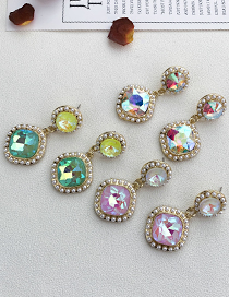 Fashion Ab Color Alloy Pearl Rhinestone Square Stud Earrings