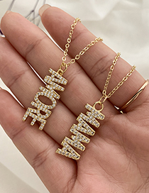 Fashion Gold Color Copper Inlaid Zircon Letters Amore Necklace