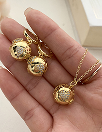 Fashion Gold Color Copper Inlaid Zircon Earth Earrings