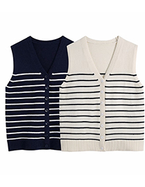 Fashion Black Striped Knitted Slim-fit Sweater Vest