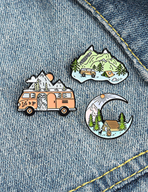 Fashion Moon River Pine Tree Cabin Painted Alloy Brooch