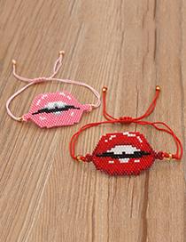 Fashion Red Braided Lips Beaded Bracelet