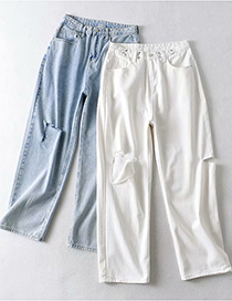 Fashion Blue Buttoned And Ripped Straight Denim Trousers