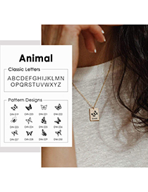 Fashion Steel Color 12# Lettering Butterfly Letter Square Glossy Titanium Steel Necklace