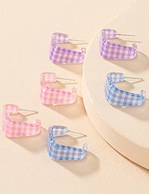 Fashion Pink Lattice Geometric Earrings