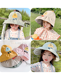 Fashion Yellow Children's Sunscreen Elasticated Empty Top Hat