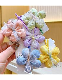 Fashion Yellow Children's Net Yarn Flower Hair Rope
