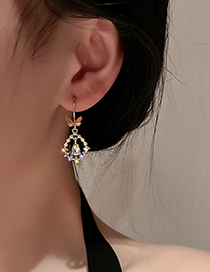 Fashion Gold Color Diamond Pearl Butterfly Earrings