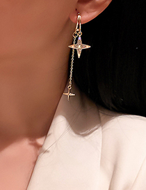 Fashion Gold Color Diamond Four-pointed Star Tassel Earrings