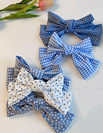 Fashion White Blue Wave Dots Flannel Bow Hairpin
