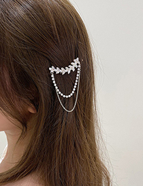 Fashion Gold Color Diamond-studded Pearl Tassel Hairpin