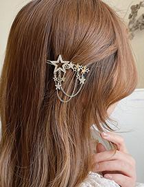 Fashion Gold Color Diamond-studded Star Tassel Hairpin
