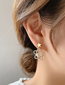 Fashion Gold Color Pearl And Diamond Five-pointed Star Earrings