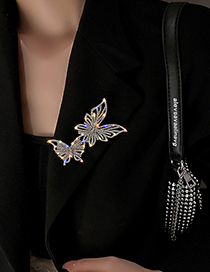 Fashion Silver Color Full Diamond Butterfly Brooch