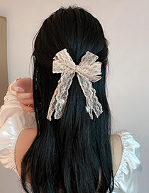 Fashion Pink Pearl Lace Bow Hairpin