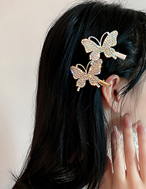 Fashion Color Full Diamond Butterfly Hairpin