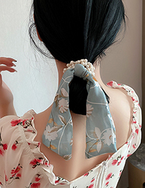 Fashion Purple Flower Gauze Ribbon And Pearl Winding Hair Rope