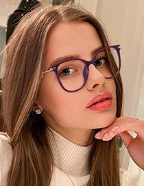 Fashion C13 Amber/anti-blue Light Tr Round Frame Anti-blue Light Flat Glasses