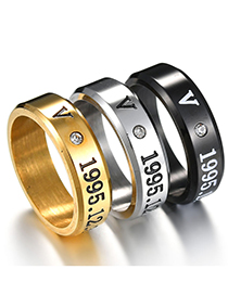 Fashion Gold Color Letter Ring With Diamonds