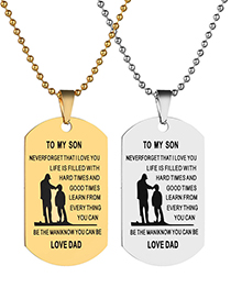 Fashion Gold Color Stainless Steel To My Son Letter Tag Necklace