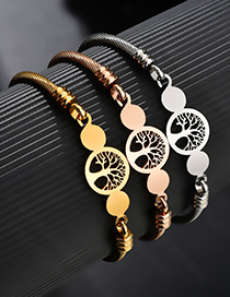 Fashion Gold Hollow Tree Of Life Steel Wire Round Plate Open Bracelet