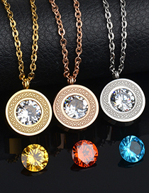 Fashion No Word-rose Gold Great Wall Pattern Diamond-changing Stainless Steel Necklace