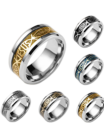 Fashion Silver Color On Black Stainless Steel Letter Ring