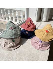 Fashion Gray Children's Double-sided Sun Hat With Frog Empty Top