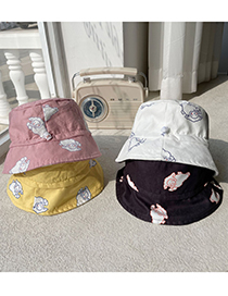 Fashion Pink Children's Embroidery Double-sided Fisherman Hat