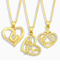 Fashion A Mom Heart Letter Necklace With Diamonds