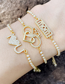 Fashion C Diamond Love Letter Mama Bracelet