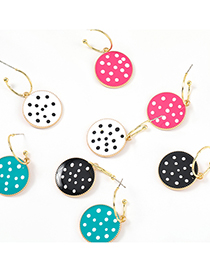 Fashion Rose Red C-shaped Alloy Drop Oil Wave Dot Round Geometric Earrings