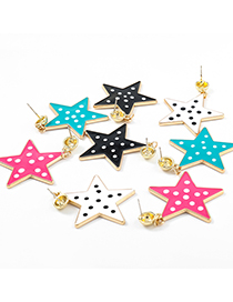 Fashion Rose Red Alloy Drop Oil Wave Point Five-pointed Star Geometric Earrings