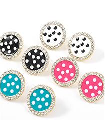 Fashion Rose Red Alloy Oil Drop Diamond Polka Dot Round Earrings