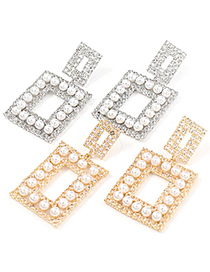 Fashion Silver Color Multilayer Square Alloy Earrings