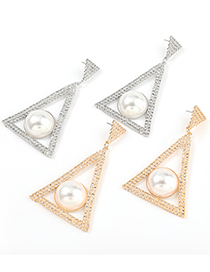 Fashion Silver Color Multilayer Triangle Alloy Diamond Earrings