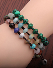 Fashion Small Abacus Beads C Agate Abacus Beads Braided Rope Adjustable Bracelet