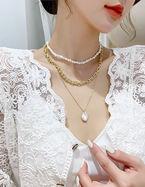 Fashion C Chain Clause Multi-layered Freshwater Pearl Necklace