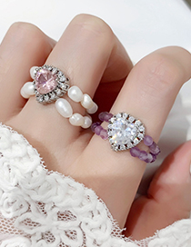 Fashion C Pearl Love Double Freshwater Pearl Ring