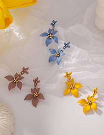 Fashion C Yellow Five Petal Flower Spray Paint Maple Earrings
