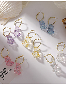 Fashion E White Color Transparent Acrylic Bear Earrings