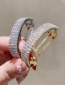 Fashion B Silver Color Curved Diamond Hairpin