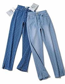 Fashion Light Blue Diamond Check Straight Slit Pants