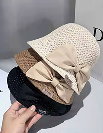 Fashion Diamond Red Woven Hollow Bow Fisherman Hat