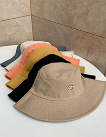 Fashion Beige Double-sided Smiley Embroidered Wide Brim Fisherman Hat